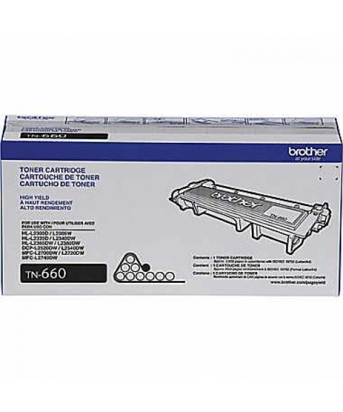 Brother High Yield TN-660 Toner Cartridge, Black